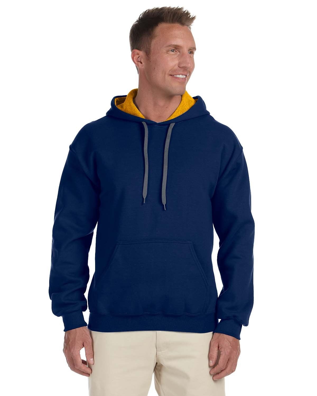Gildan Adult Heavy Blend™ 50/50 Contrast Hooded Sweatshirt NAVY/ GOLD