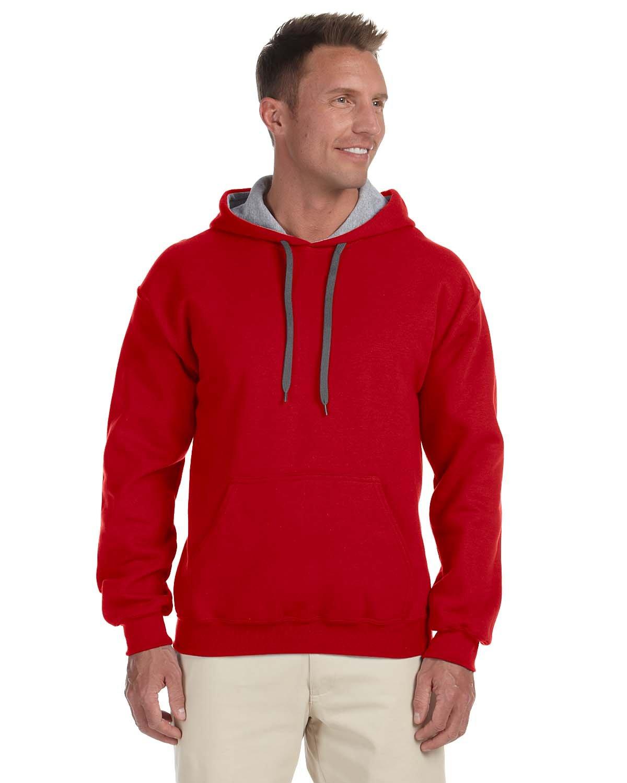 Gildan Adult Heavy Blend™ 50/50 Contrast Hooded Sweatshirt RED/ SPORT GREY