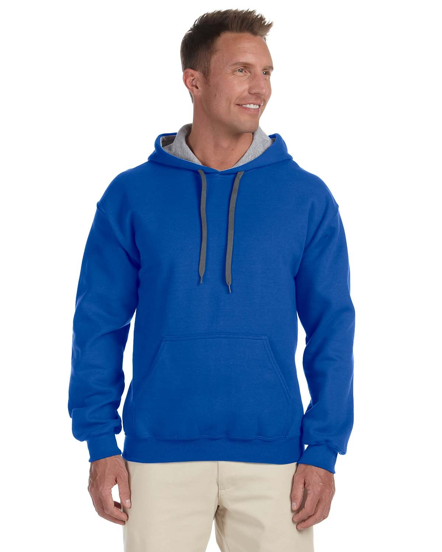 Gildan Adult Heavy Blend™ 50/50 Contrast Hooded Sweatshirt ROYAL/ SPORT GRY