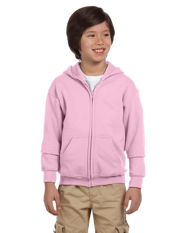 Gildan Youth Heavy Blend™ 50/50 Full-Zip Hooded Sweatshirt LIGHT PINK