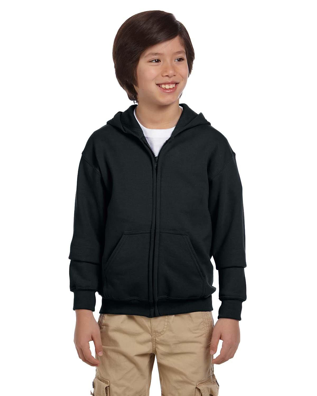 Gildan Youth Heavy Blend™ 50/50 Full-Zip Hooded Sweatshirt BLACK