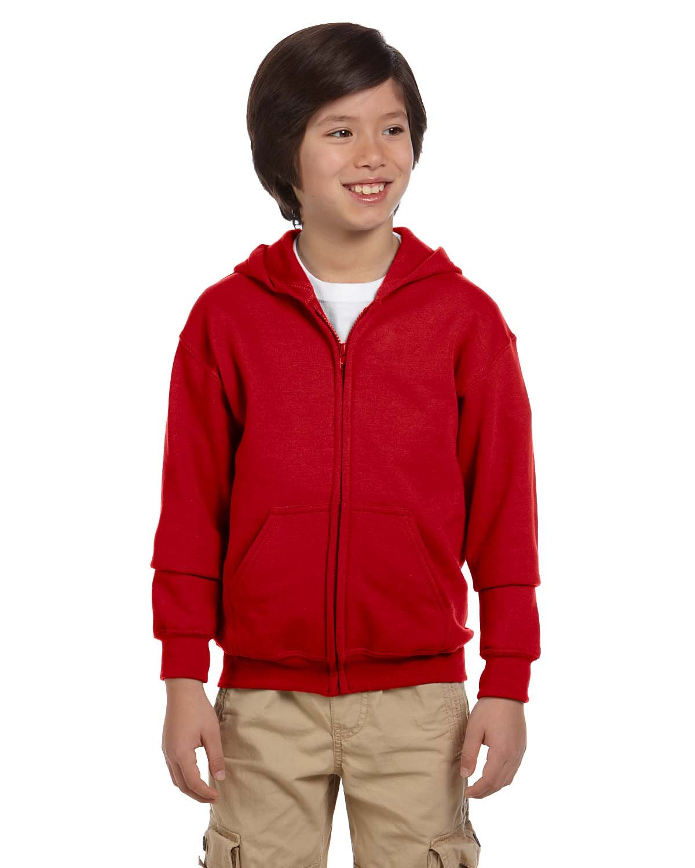 Gildan Youth Heavy Blend™ 50/50 Full-Zip Hooded Sweatshirt RED