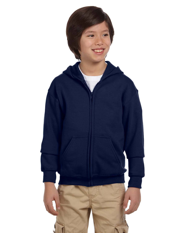Gildan Youth Heavy Blend™ 50/50 Full-Zip Hooded Sweatshirt NAVY