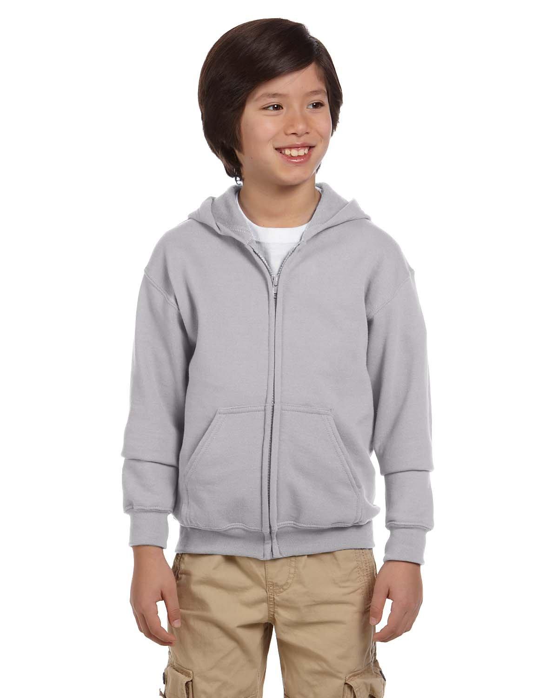 Gildan Youth Heavy Blend™ 50/50 Full-Zip Hooded Sweatshirt SPORT GREY