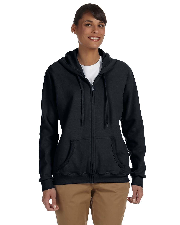 Gildan Ladies' Heavy Blend™ 50/50 Full-Zip Hooded Sweatshirt BLACK