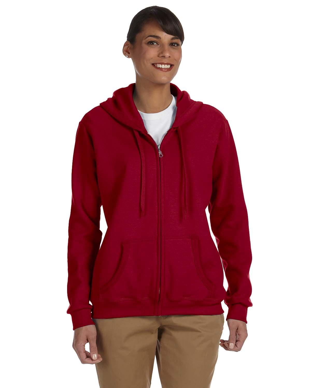 Gildan Ladies' Heavy Blend™ 50/50 Full-Zip Hooded Sweatshirt CARDINAL RED