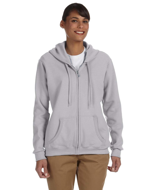 Gildan Ladies' Heavy Blend™ 50/50 Full-Zip Hooded Sweatshirt SPORT GREY