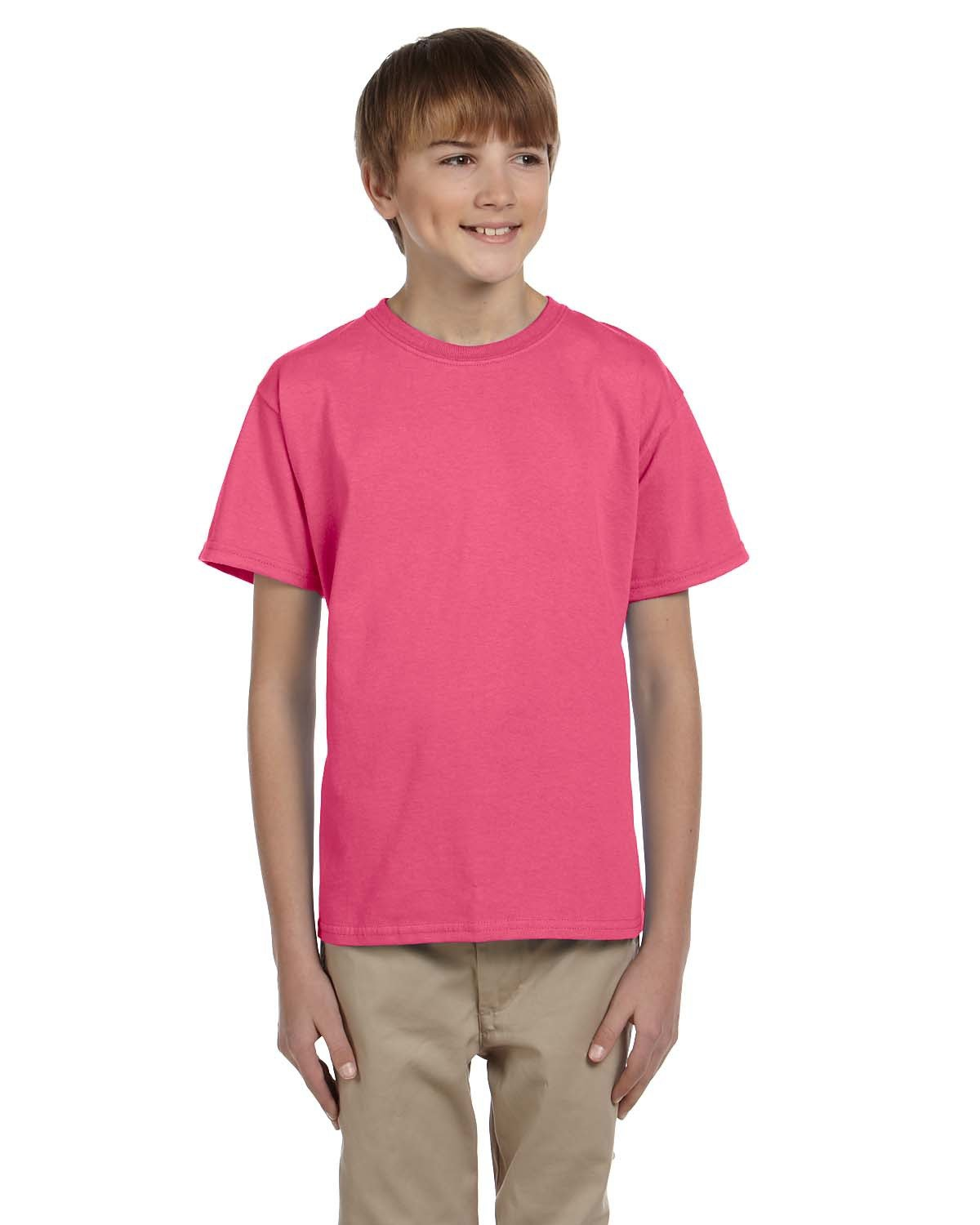 Gildan Youth Ultra Cotton® 6 oz. T-Shirt SAFETY PINK