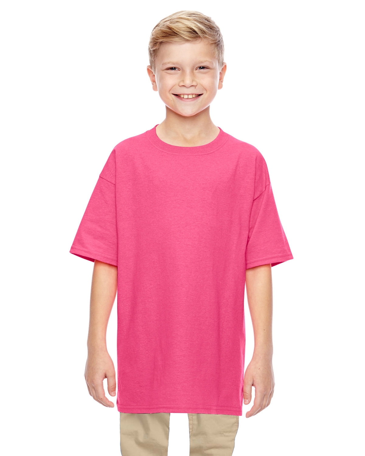 Gildan Youth  Heavy Cotton™ 5.3 oz. T-Shirt SAFETY PINK