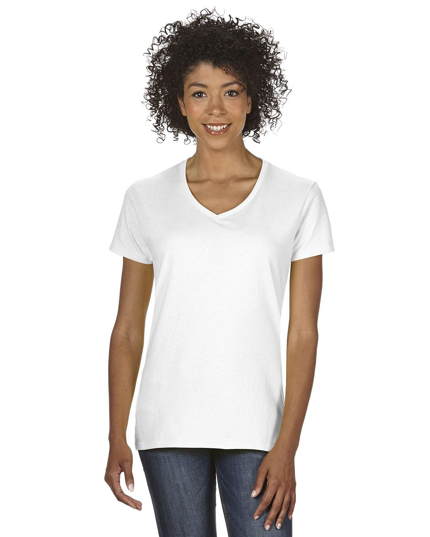 Gildan Ladies' Heavy Cotton™ V-Neck T-Shirt WHITE