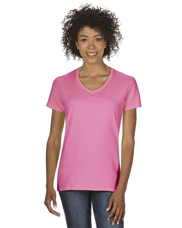 Gildan Ladies' Heavy Cotton™ V-Neck T-Shirt AZALEA