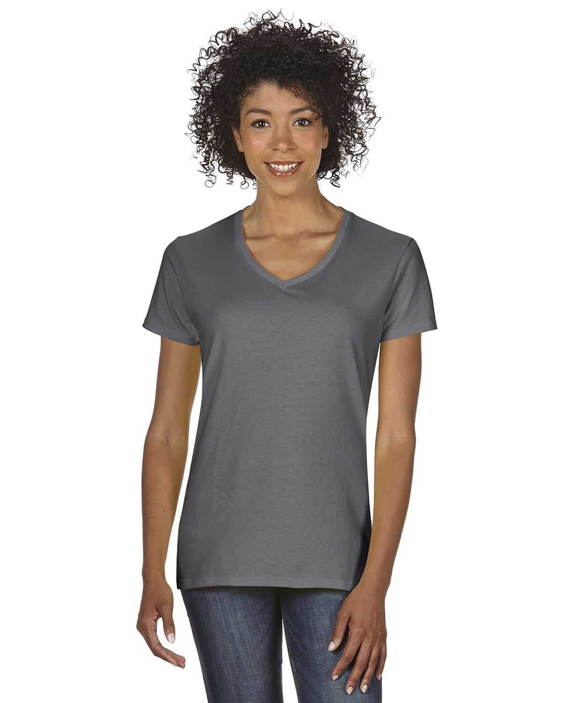 Gildan Ladies' Heavy Cotton™ V-Neck T-Shirt CHARCOAL