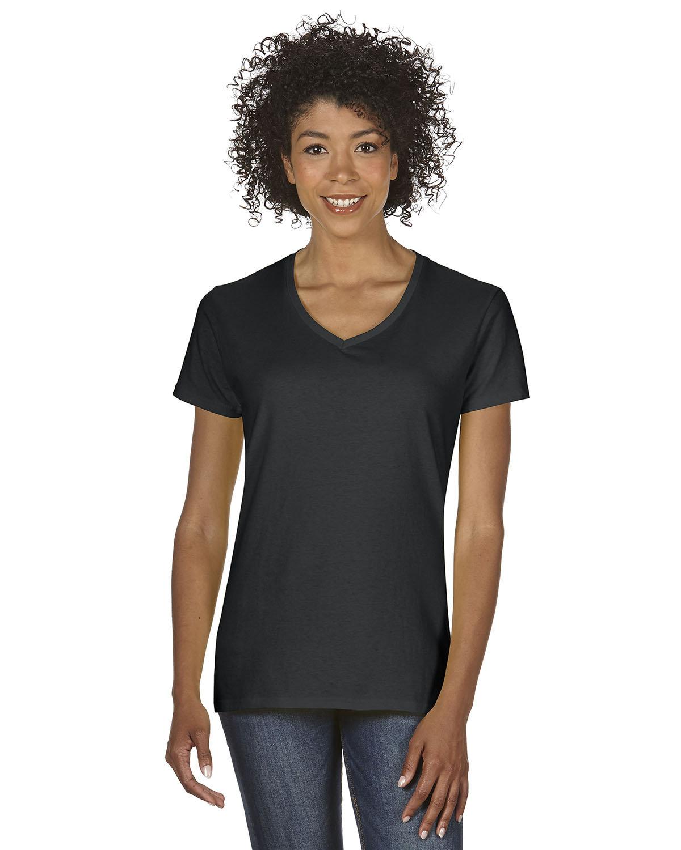 Gildan Ladies' Heavy Cotton™ V-Neck T-Shirt BLACK