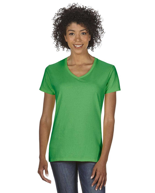 Gildan Ladies' Heavy Cotton™ V-Neck T-Shirt IRISH GREEN