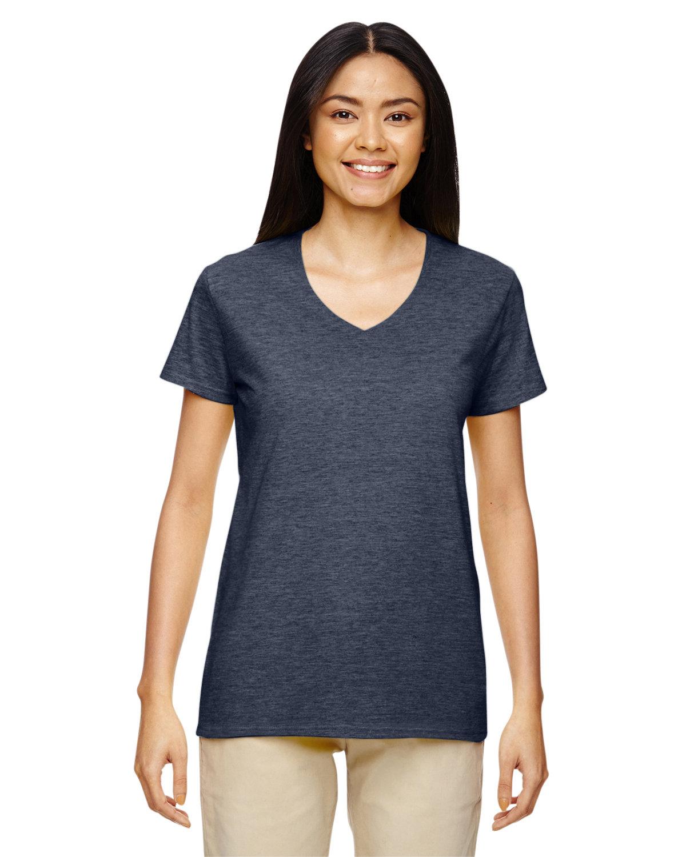 Gildan Ladies' Heavy Cotton™ V-Neck T-Shirt HEATHER NAVY