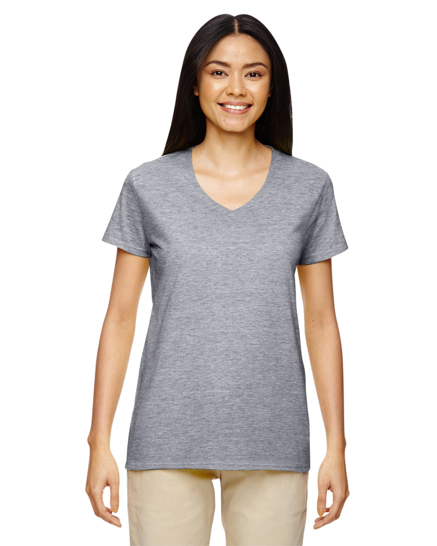 Gildan Ladies' Heavy Cotton™ V-Neck T-Shirt GRAPHITE HEATHER