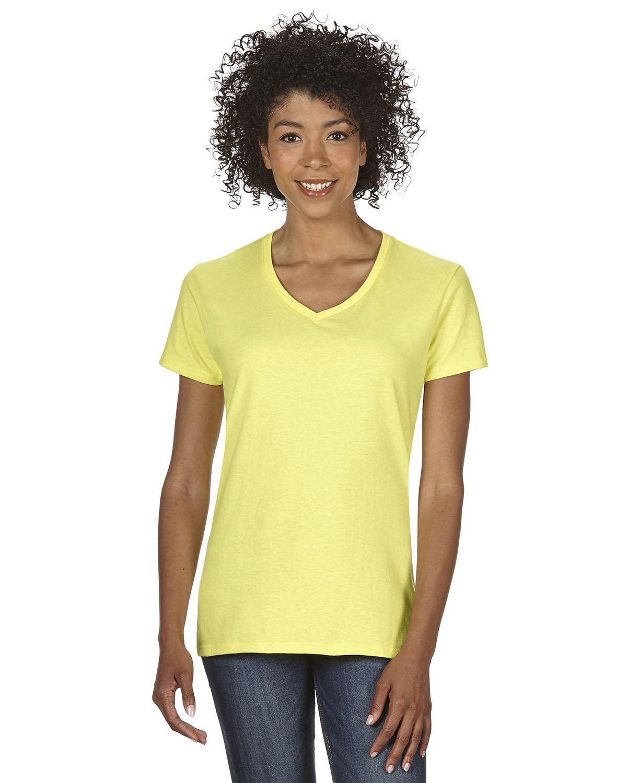 Gildan Ladies' Heavy Cotton™ V-Neck T-Shirt CORNSILK