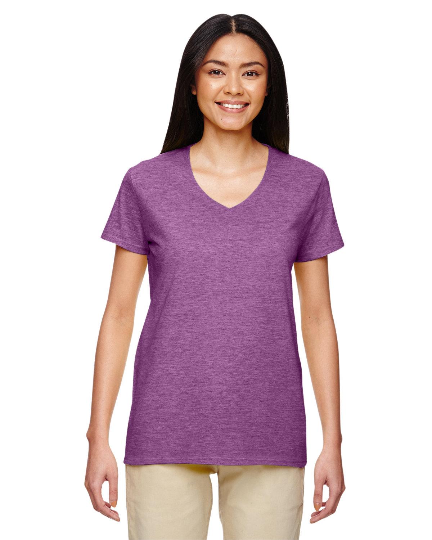 Gildan Ladies' Heavy Cotton™ V-Neck T-Shirt HTHR RDNT ORCHID