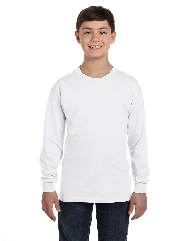 Gildan Youth Heavy Cotton™ Long-Sleeve T-Shirt WHITE