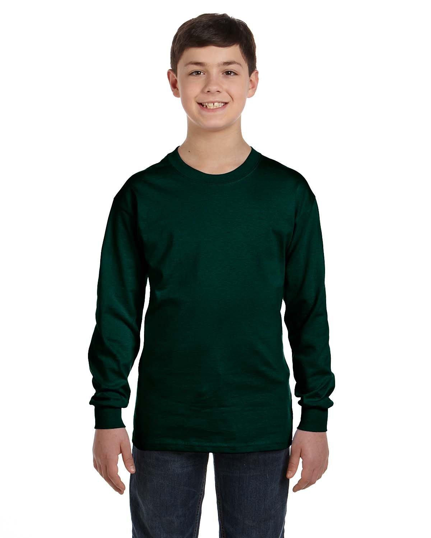 Gildan Youth Heavy Cotton™ Long-Sleeve T-Shirt FOREST GREEN