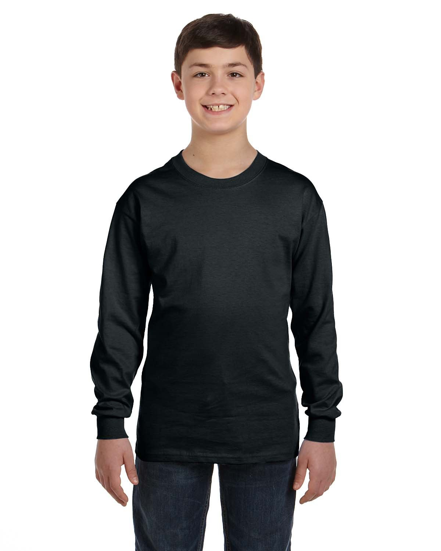 Gildan Youth Heavy Cotton™ Long-Sleeve T-Shirt BLACK