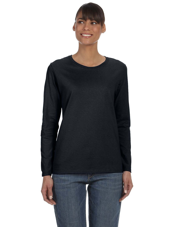 Gildan Ladies' Heavy Cotton™ Long-Sleeve T-Shirt BLACK