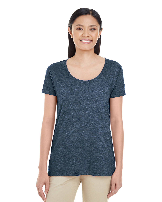 Gildan Ladies' Softstyle® Deep Scoop T-Shirt HEATHER NAVY