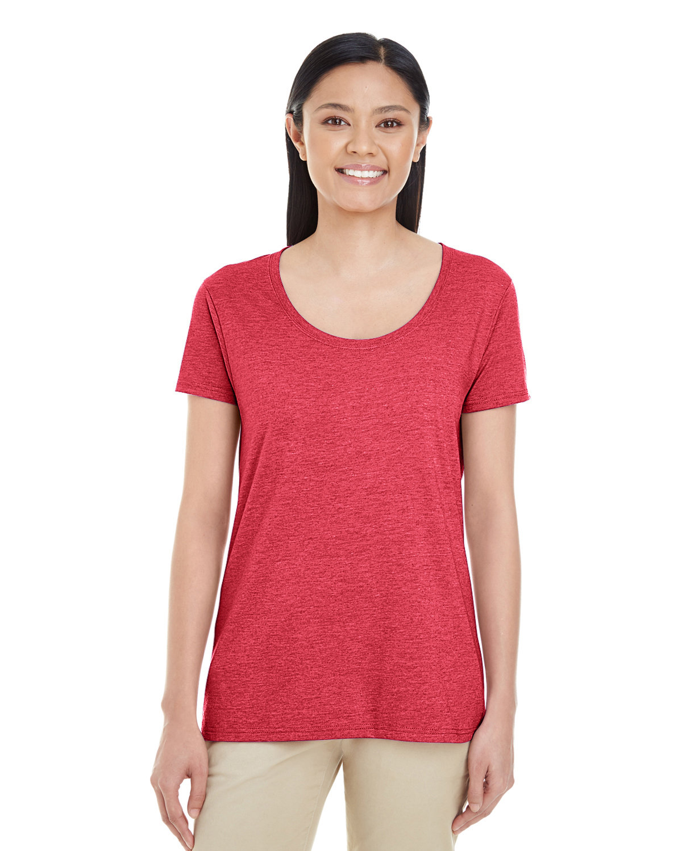 Gildan Ladies' Softstyle® Deep Scoop T-Shirt HEATHER RED