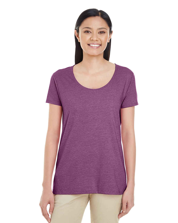 Gildan Ladies' Softstyle® Deep Scoop T-Shirt HTHR AUBERGINE
