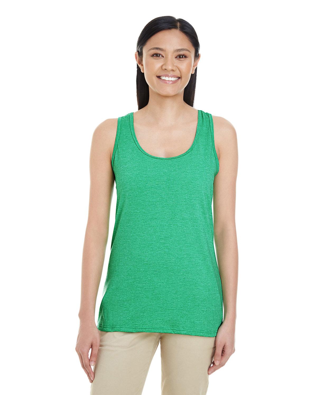 Gildan Ladies' Softstyle® Racerback Tank HTHR IRISH GREEN
