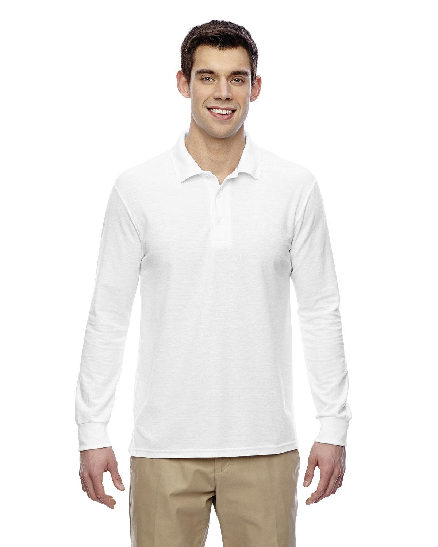 Gildan Adult Double Piqué Long-Sleeve Polo WHITE
