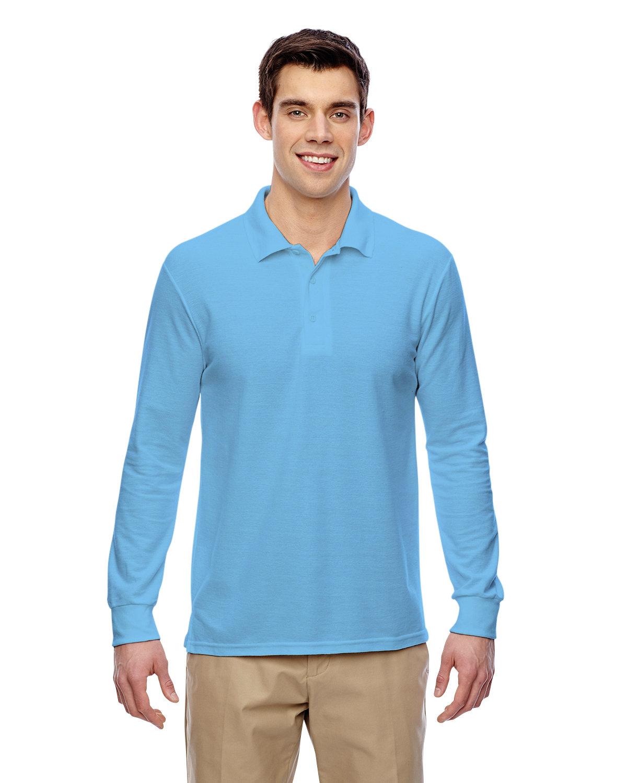 Gildan Adult Double Piqué Long-Sleeve Polo LIGHT BLUE