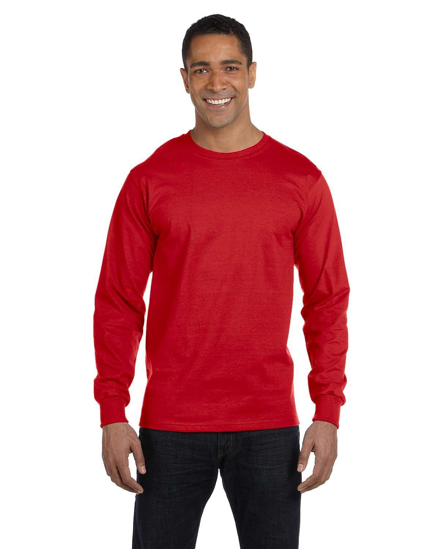 Gildan Adult 50/50 Long-Sleeve T-Shirt RED