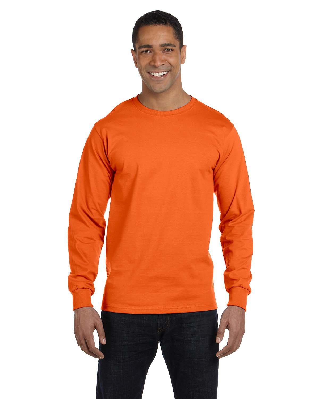Gildan Adult 50/50 Long-Sleeve T-Shirt ORANGE