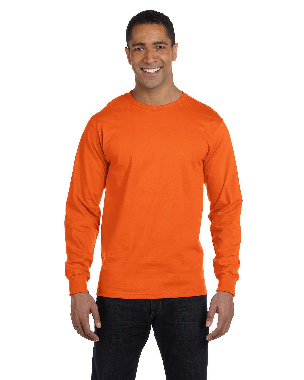 Gildan Adult 50/50 Long-Sleeve T-Shirt S ORANGE