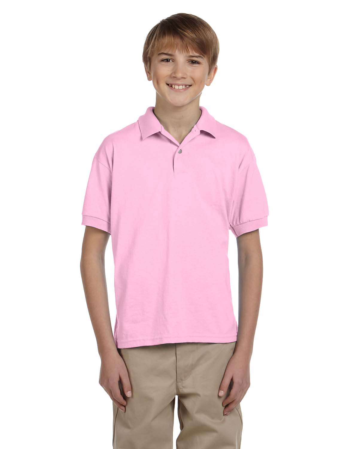 Gildan Youth 50/50 Jersey Polo LIGHT PINK