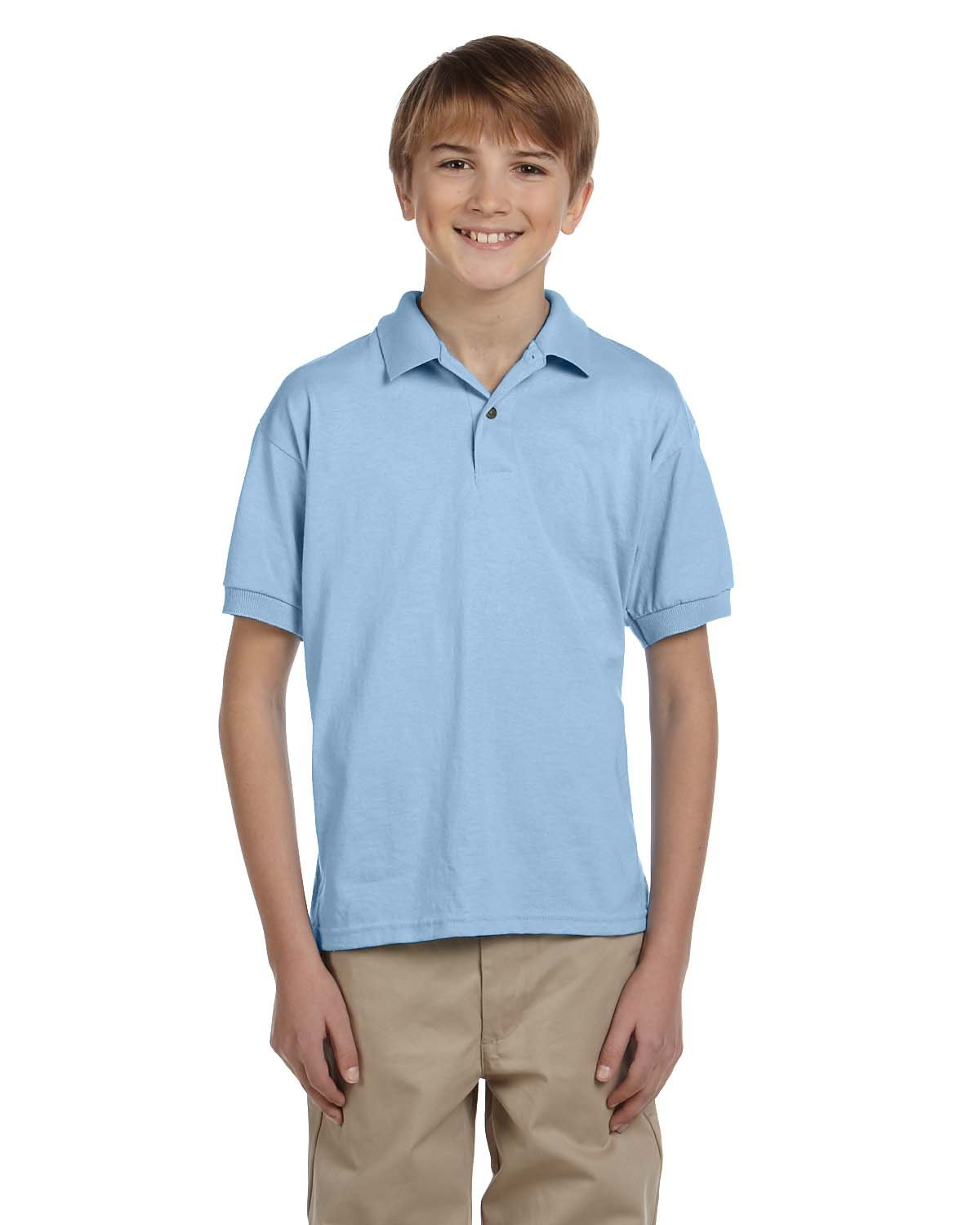 Gildan Youth 50/50 Jersey Polo LIGHT BLUE