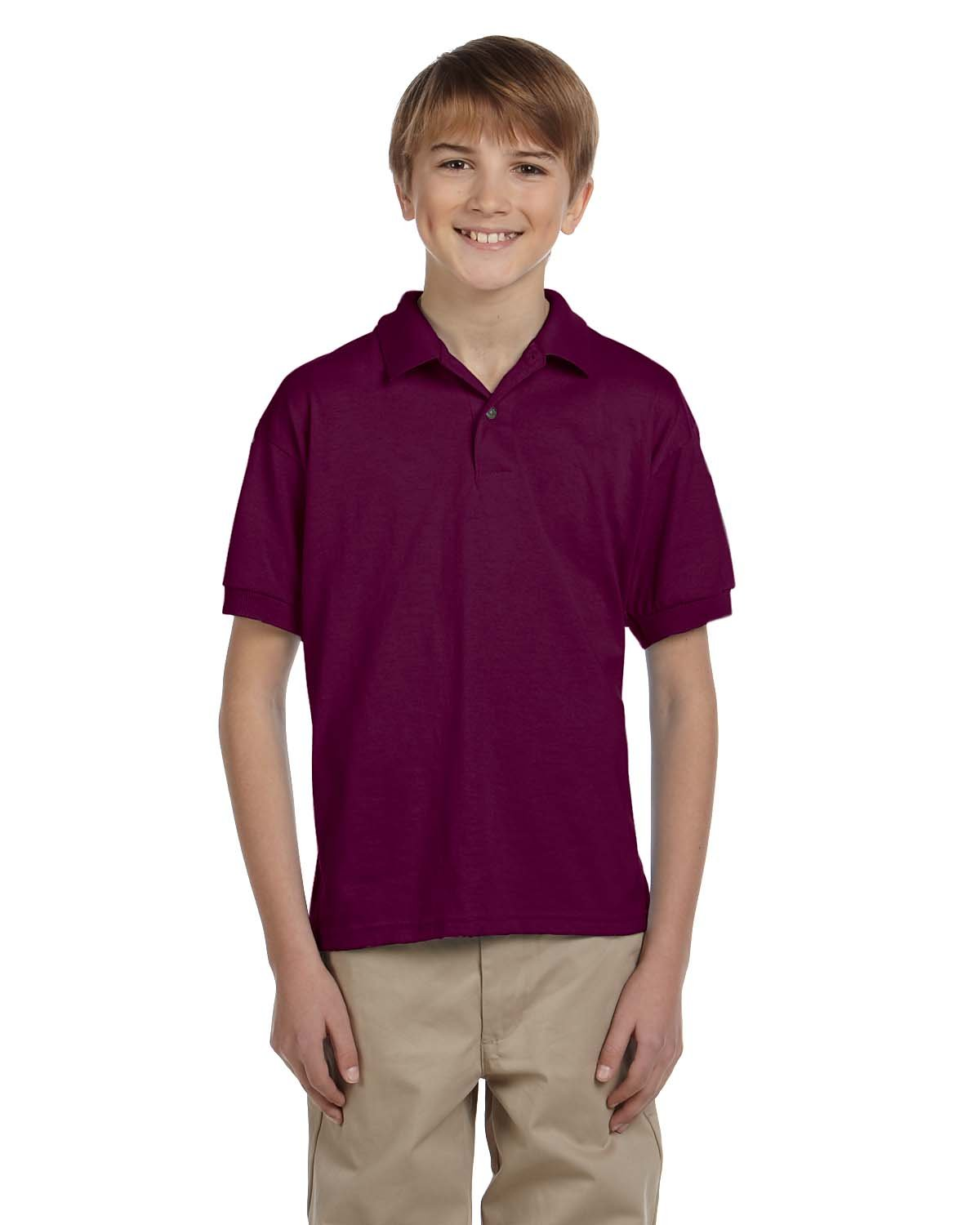 Gildan Youth 50/50 Jersey Polo MAROON