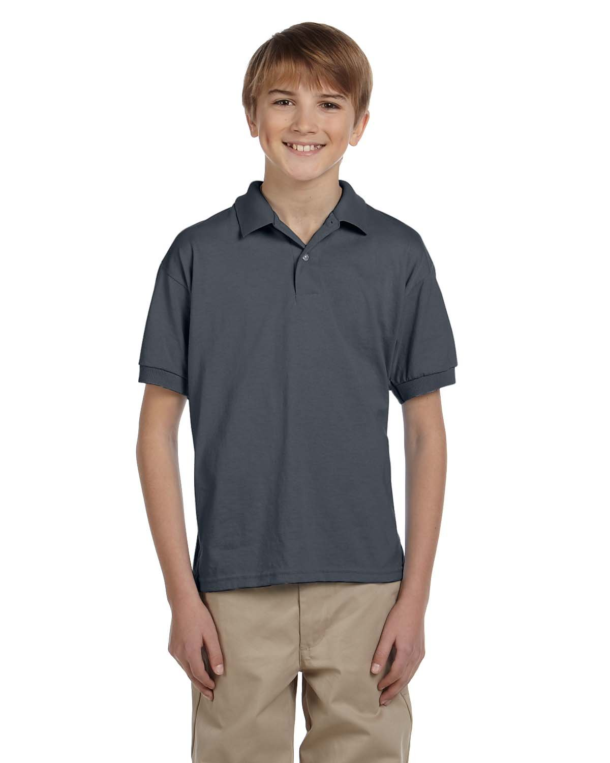 Gildan Youth 50/50 Jersey Polo DARK HEATHER