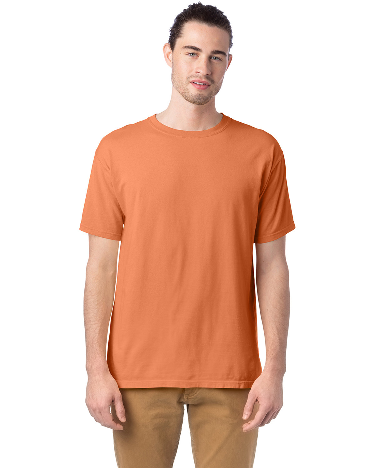 ComfortWash by Hanes Men's 5.5 oz., 100% Ringspun Cotton Garment-Dyed T-Shirt HORIZON ORANGE