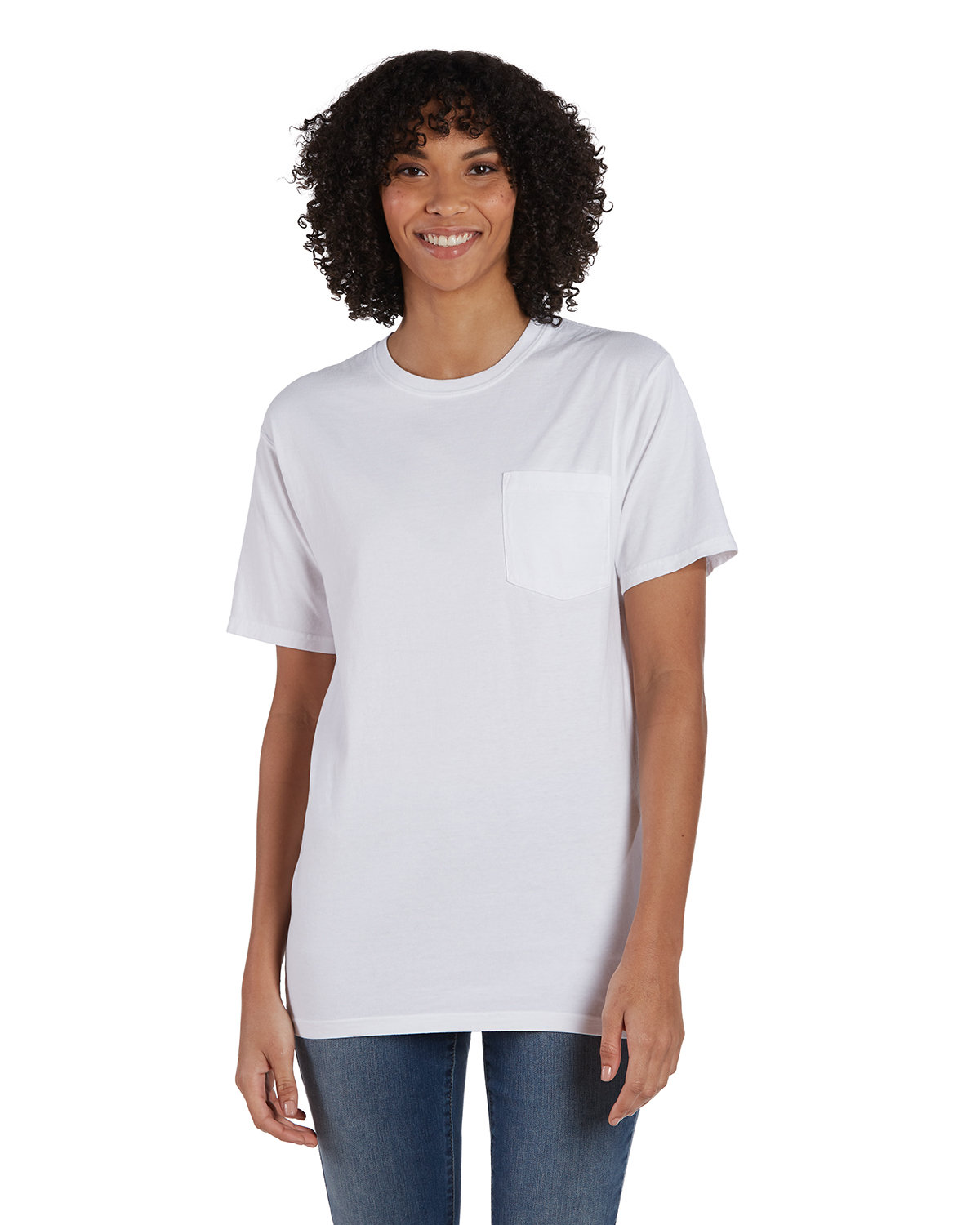 ComfortWash by Hanes Unisex Garment-Dyed T-Shirt with Pocket WHITE