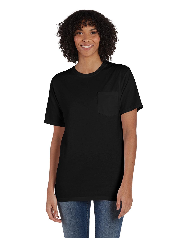 ComfortWash by Hanes Unisex 5.5 oz., 100% Ringspun Cotton Garment-Dyed T-Shirt with Pocket BLACK
