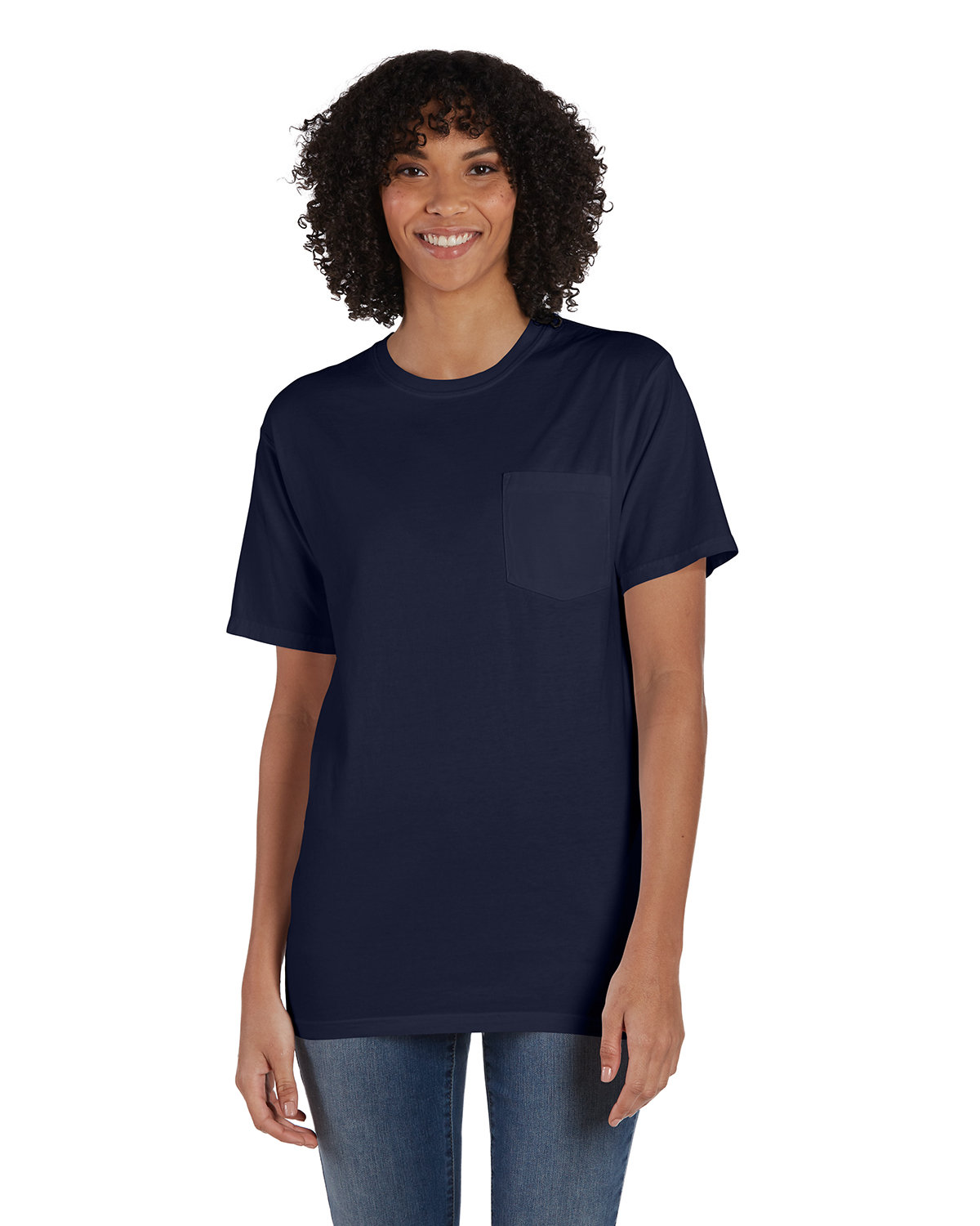 ComfortWash by Hanes Unisex 5.5 oz., 100% Ringspun Cotton Garment-Dyed T-Shirt with Pocket NAVY
