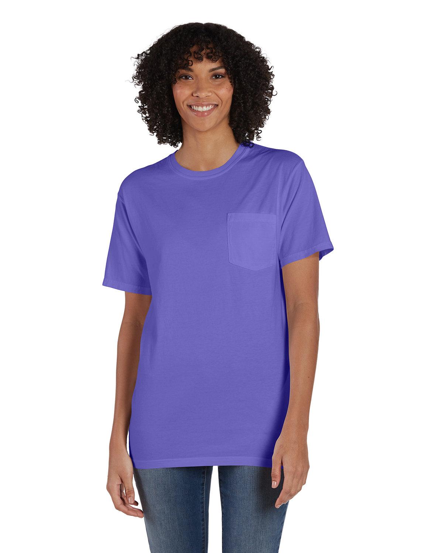ComfortWash by Hanes Unisex 5.5 oz., 100% Ringspun Cotton Garment-Dyed T-Shirt with Pocket LAVENDER