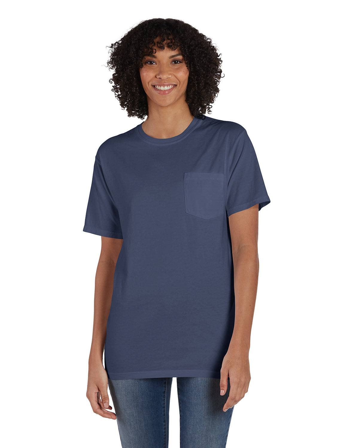 ComfortWash by Hanes Unisex 5.5 oz., 100% Ringspun Cotton Garment-Dyed T-Shirt with Pocket ANCHOR SLATE