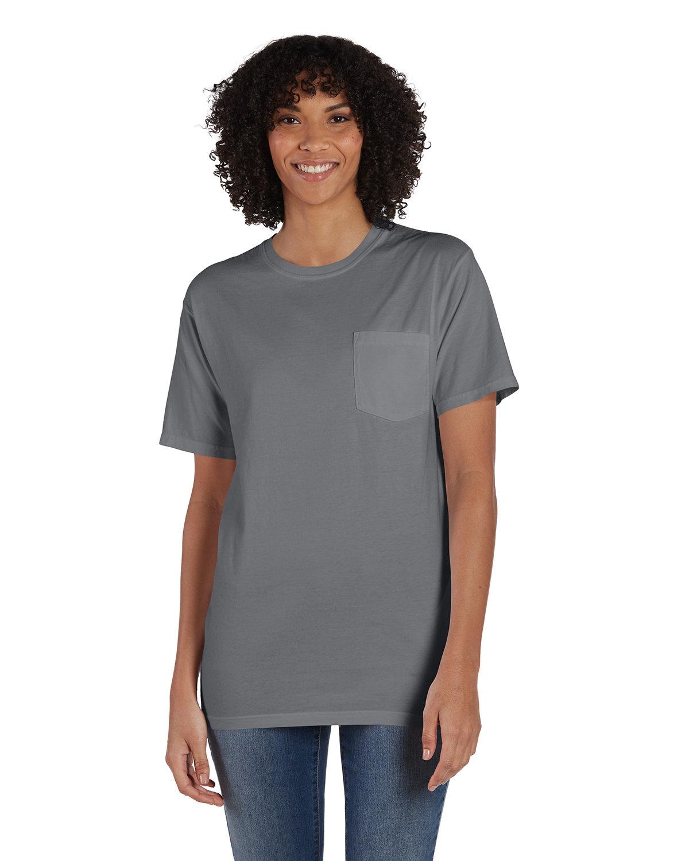 ComfortWash by Hanes Unisex 5.5 oz., 100% Ringspun Cotton Garment-Dyed T-Shirt with Pocket CONCRETE