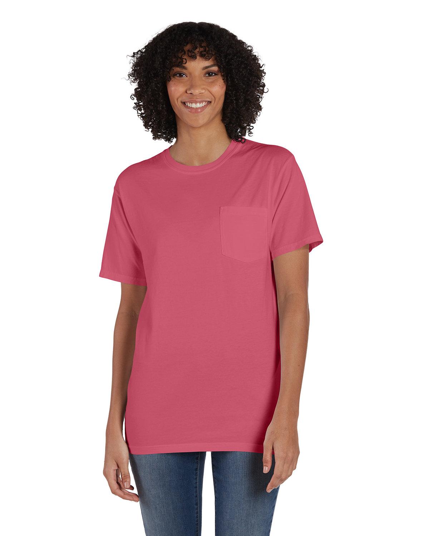 ComfortWash by Hanes Unisex 5.5 oz., 100% Ringspun Cotton Garment-Dyed T-Shirt with Pocket CORAL CRAZE