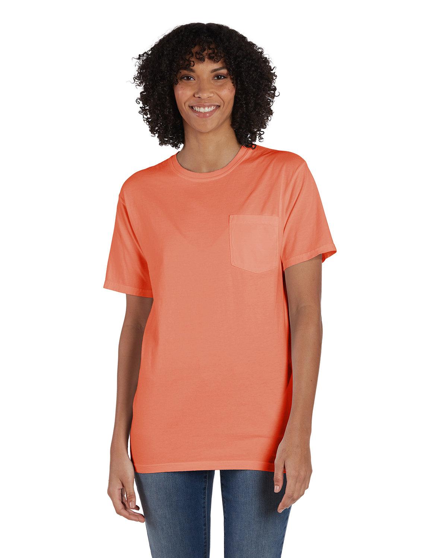 ComfortWash by Hanes Unisex 5.5 oz., 100% Ringspun Cotton Garment-Dyed T-Shirt with Pocket HORIZON ORANGE
