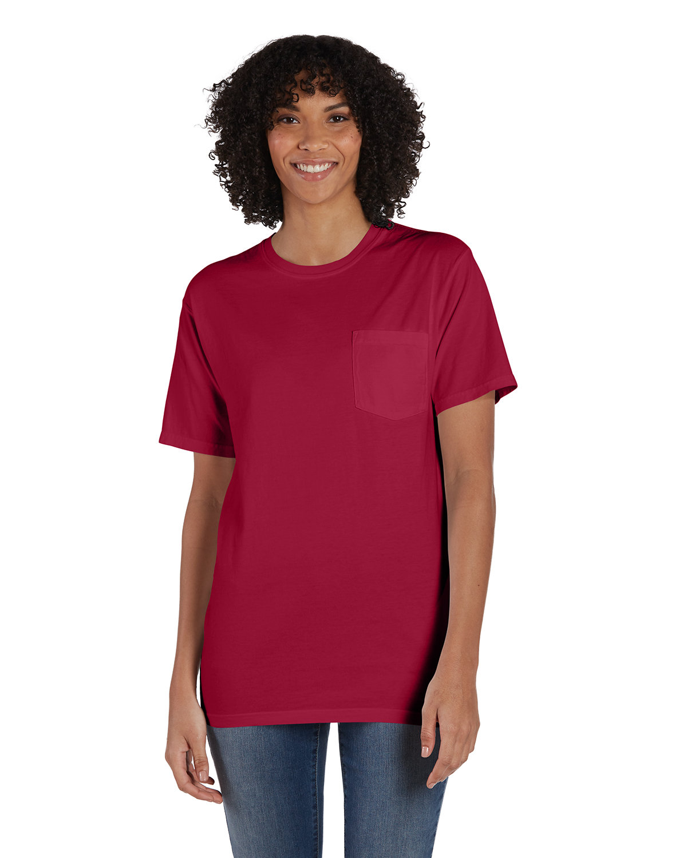 ComfortWash by Hanes Unisex 5.5 oz., 100% Ringspun Cotton Garment-Dyed T-Shirt with Pocket CRIMSON FALL