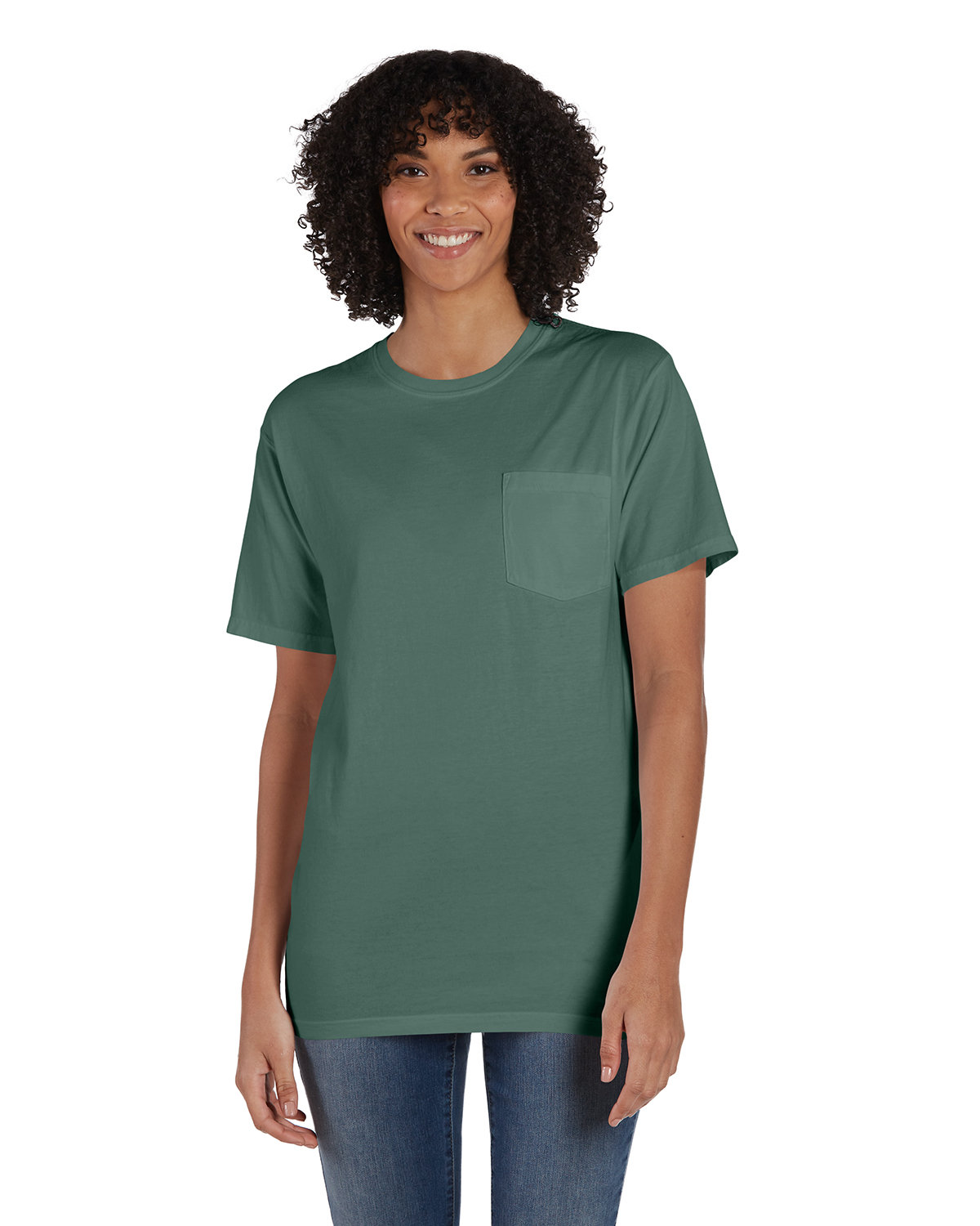 ComfortWash by Hanes Unisex 5.5 oz., 100% Ringspun Cotton Garment-Dyed T-Shirt with Pocket CYPRESS GREEN